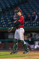 Fort Wayne TinCaps catcher Blake Hunt (12) during a Midwest League game against the Fort Wayne TinCaps at Parkview Field on April 30, 2019 in Fort Wayne, Indiana. Kane County defeated Fort Wayne 7-4. (Zachary Lucy/Four Seam Images)