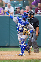 Burlington Royals catcher Meibrys Viloria (29) makes a throw to third base following a strike out in the game against the Pulaski Mariners at Calfee Park on June 20, 2014 in Pulaski, Virginia.  The Mariners defeated the Royals 6-4. (Brian Westerholt/Four Seam Images)