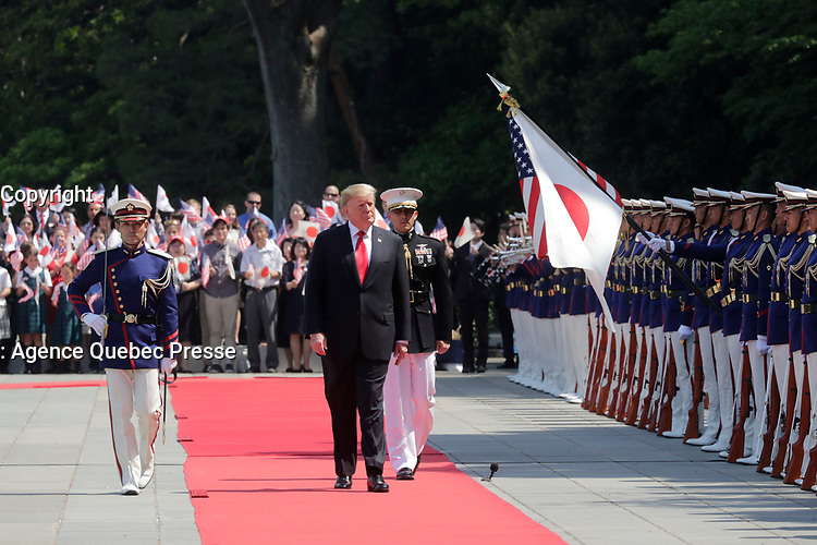 President Trump Arrives at the Imperial Palace<br /> <br /> President Donald J. Trump reviews an honor guard during a State Call to the Imperial Palace Monday, May 27, 2019, in Tokyo. ( Photo Courtesy of the Japan Ministry of Foreign Affairs)