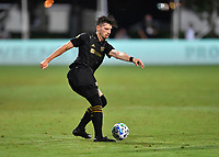 LAKE BUENA VISTA, FL - JULY 18: Tristan Blackmon 27 of LAFC passes the ball during a game between Los Angeles Galaxy and Los Angeles FC at ESPN Wide World of Sports on July 18, 2020 in Lake Buena Vista, Florida.