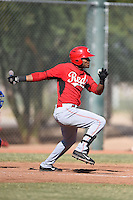 Cincinnati Reds outfielder Reydel Medina (35) during an Instructional League game against the Kansas City Royals on October 16, 2014 at Goodyear Training Complex in Goodyear, Arizona.  (Mike Janes/Four Seam Images)