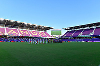 ORLANDO, FL - APRIL 21: A general view of Exploria Stadium with the Starting XI from  the Washington Spirit and Orlando Pride during a game between Washington Spirit and Orlando Pride at Exploria Stadium on April 21, 2021 in Orlando, Florida.