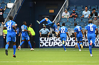 KANSASCITY, KS - JULY 11: Emmanuel Riviere #11 of Martinique does a back flip to celebrate his goal during a game between Canada and Martinique at Children's Mercy Park on July 11, 2021 in KansasCity, Kansas.