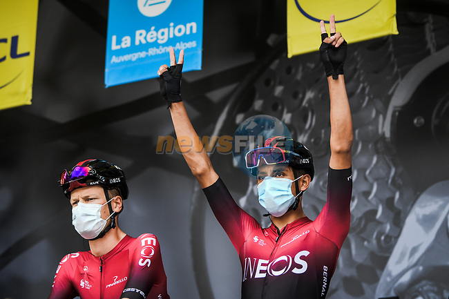 Egan Bernal (COL) Team Ineos at the Team Presentation before the start of Stage 1 of Criterium du Dauphine 2020, running 218.5km from Clermont-Ferrand to Saint-Christo-en-Jarez, France. 12th August 2020.<br /> Picture: ASO/Alex Broadway | Cyclefile<br /> All photos usage must carry mandatory copyright credit (© Cyclefile | ASO/Alex Broadway)