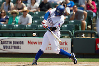 Round Rock Express shortstop Jurickson Profar #10 swings the bat to connect for a seventh inning grand slam home run against the New Orleans Zephyrs in the Pacific Coast League baseball game on April 21, 2013 at the Dell Diamond in Round Rock, Texas. Round Rock defeated New Orleans 7-1. (Andrew Woolley/Four Seam Images).