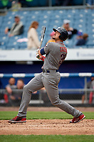 Lehigh Valley IronPigs right fielder Dylan Cozens (31) follows through on a swing during a game against the Syracuse Chiefs on May 20, 2018 at NBT Bank Stadium in Syracuse, New York.  Lehigh Valley defeated Syracuse 5-2.  (Mike Janes/Four Seam Images)