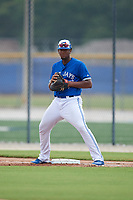 GCL Blue Jays first baseman Rainer Nunez (26) during a Gulf Coast League game against the GCL Tigers West on August 3, 2019 at the Englebert Complex in Dunedin, Florida.  GCL Blue Jays defeated the GCL Tigers West 4-3.  (Mike Janes/Four Seam Images)