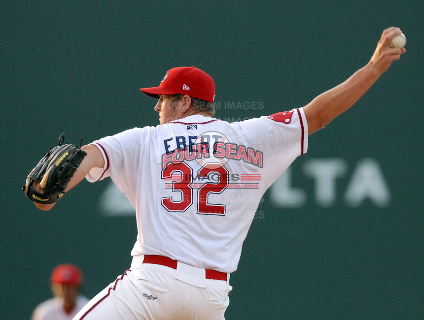Pitcher Tom Ebert (32) of the Greenville Drive throws during Spartanburg Night with the Greenville Drive on June 8, 2010, at Fluor Field at the West End in Greenville, S.C. Photo by: Tom Priddy/Four Seam Images