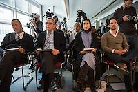 """Veranstaltung """"Begriffswelten Islam"""" in der Bundeszentrale fuer politische Bildung (bpb) mit BM Thomas de Maiziere mit den YouTubern Nemi El-Hassan (Datteltaeter) und Mirko Drotschmann (Mr.Wissen2Go) und dem Leiter der Bundeszentrale Thomas Krueger.<br /> Am Mittwoch den 3. Februar 2016 stellte die Bundeszentrale fuer politische Bildung zuammen mit den Youtube-Bloggern Nemi El-Hassan (Datteltaeter) und Mirko Drotschmann (Mr.Wissen2Go) ein neues Projekt zum Thema Islam vor. Die Blogger erklaeren in ihren von der Bundeszentrale unterstuetzten Filmbeitraegen wesenliche Begriffe des Islam vor und versuchen Vorurteile und Falschinformationen fuer Muslime und nicht-Muslime auszuraeumen.<br /> Im Bild vlnr.: Thomas Krueger, Thomas de Maiziere, Nemi El-Hassan, Mirko Drotschmann.<br /> 3.2.2016, Berlin<br /> Copyright: Christian-Ditsch.de<br /> [Inhaltsveraendernde Manipulation des Fotos nur nach ausdruecklicher Genehmigung des Fotografen. Vereinbarungen ueber Abtretung von Persoenlichkeitsrechten/Model Release der abgebildeten Person/Personen liegen nicht vor. NO MODEL RELEASE! Nur fuer Redaktionelle Zwecke. Don't publish without copyright Christian-Ditsch.de, Veroeffentlichung nur mit Fotografennennung, sowie gegen Honorar, MwSt. und Beleg. Konto: I N G - D i B a, IBAN DE58500105175400192269, BIC INGDDEFFXXX, Kontakt: post@christian-ditsch.de<br /> Bei der Bearbeitung der Dateiinformationen darf die Urheberkennzeichnung in den EXIF- und  IPTC-Daten nicht entfernt werden, diese sind in digitalen Medien nach §95c UrhG rechtlich geschuetzt. Der Urhebervermerk wird gemaess §13 UrhG verlangt.]"""