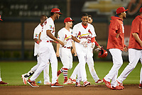 Springfield Cardinals left fielder Magneuris Sierra (29) and Sandy Alcantara (left) after a walk off base hit in the bottom of the ninth inning during a game against the Corpus Christi Hooks on May 30, 2017 at Hammons Field in Springfield, Missouri.  Springfield defeated Corpus Christi 4-3.  (Mike Janes/Four Seam Images)