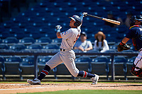 Jacksonville Jumbo Shrimp Corey Bird (32) at bat during a Southern League game against the Mississippi Braves on May 5, 2019 at Trustmark Park in Pearl, Mississippi.  Mississippi defeated Jacksonville 1-0 in ten innings.  (Mike Janes/Four Seam Images)