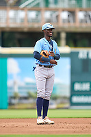 FCL Rays third baseman Alejandro Pie (64) during a game against the FCL Pirates Gold on July 26, 2021 at LECOM Park in Bradenton, Florida. (Mike Janes/Four Seam Images)