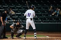 Duke Ellis (11) of the Winston-Salem Dash at bat against the Greensboro Grasshoppers at Truist Stadium on June 15, 2021 in Winston-Salem, North Carolina. (Brian Westerholt/Four Seam Images)