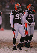 December 16th, 2007:  Cleveland Browns Kamerion Wimbley (95) walks to the line of scrimmage at Cleveland Browns Stadium in Cleveland, Ohio.  The Browns shutout the Bills 8-0 to inch closer to clinching a playoff spot.  Photo Copyright Mike Janes Photography.