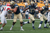 Pitt running back Qadree Ollison (37) runs through a hole. The Pitt Panthers defeated the Youngstown State Penguins 28-21 in overtime at Heinz Field, Pittsburgh, Pennsylvania on September 02, 2017.