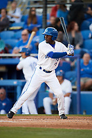 Dunedin Blue Jays center fielder D.J. Davis (6) at bat during a game against the Clearwater Threshers on April 8, 2017 at Florida Auto Exchange Stadium in Dunedin, Florida.  Dunedin defeated Clearwater 12-6.  (Mike Janes/Four Seam Images)
