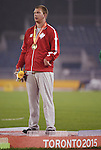 Kevin Strybosch, Toronto 2015 - Para Athletics // Para-athlétisme.<br /> Kevin Strybosch receives his Gold Medal for the Men's Discus Throw F37 // Kevin Strybosch reçoit sa médaille d'or pour le lancer du disque masculin F37. 10/08/2015.