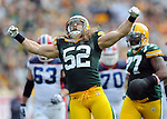 Green Bay Packers' Clay Matthews reacts to his third quarter sack of Buffalo Bills quarterback Trent Edwards during the home opener at Lambeau Field in Green Bay, Wis., on Sunday, Sept. 19, 2010.
