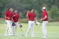 The Razorback golf team including Luke Long (from the right) and Mateo Fernandez de Oliveira celebrates after finishing their round Wednesday Oct. 6, 2021 at the Blessings Collegiate golf tournament in Johnson. Visit nwaonline.com/210001007Daily/  (NWA Democrat-Gazette/J.T. Wampler)