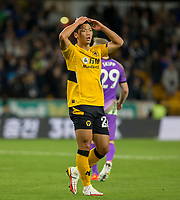 22nd September 2021; Molineux Stadium, Wolverhampton,  West Midlands, England; EFL Cup football, Wolverhampton Wanderers versus Tottenham Hotspur; Maximilian Kilman of Wolverhampton Wanderers with his hands on his head after a missed shot at goal