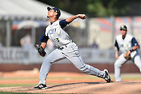 Columbia Fireflies starting pitcher Kevin Canelon (3) delivers a pitch during a game against the Asheville Tourists at McCormick Field on June 18, 2016 in Asheville, North Carolina. The Tourists defeated the Fireflies 5-4. (Tony Farlow/Four Seam Images)