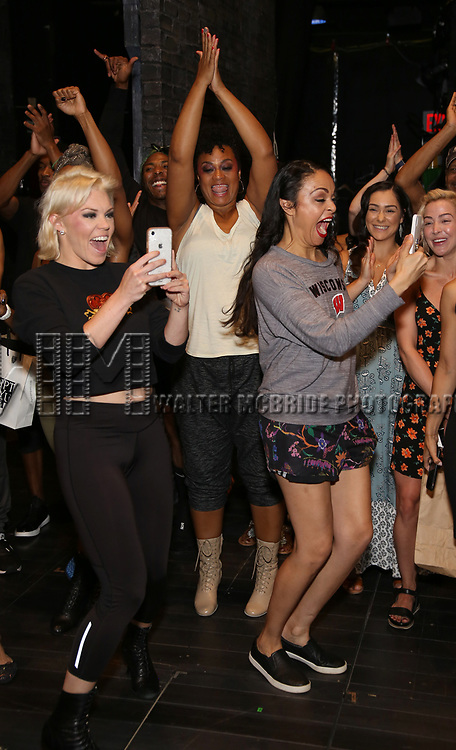 """Robyn Hurder, Jacqueline B. Arnold and Karen Olivo during the Broadway Opening Night Legacy Robe Ceremony honoring Bahiyah Hibah for  """"Moulin Rouge! The Musical"""" at the Al Hirschfeld Theatre on July 25,2019 in New York City."""