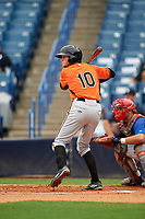 Carter Keiboom (10) of Walton High School in Marietta, Georgia playing for the Baltimore Orioles scout team during the East Coast Pro Showcase on July 28, 2015 at George M. Steinbrenner Field in Tampa, Florida.  (Mike Janes/Four Seam Images)