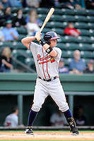 Designated hitter Jacob Schrader (45) of the Rome Braves bats in a game against the Greenville Drive on Thursday, July 31, 2014, at Fluor Field at the West End in Greenville, South Carolina. Rome won the rain-shortened game, 4-1. (Tom Priddy/Four Seam Images)