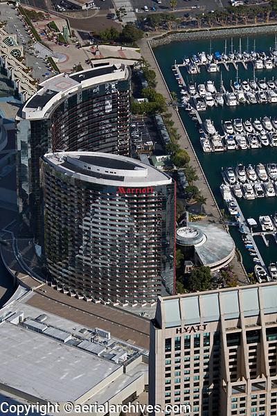 aerial photograph Marriott San Diego Harbor and Manchester Grand Hyatt hotels, San Diego, California