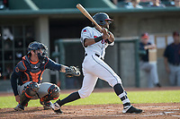 Lansing Lugnuts outfielder Joshua Palacios (5) follows through on his swing during the Midwest League baseball game against the Bowling Green Hot Rods on June 29, 2017 at Cooley Law School Stadium in Lansing, Michigan. Bowling Green defeated Lansing 11-9 in 10 innings. (Andrew Woolley/Four Seam Images)