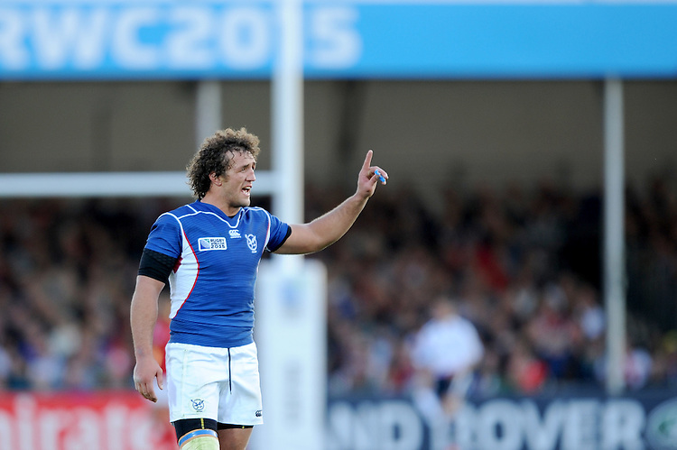 Jacques Burger of Namibia during Match 20 of the Rugby World Cup 2015 between Tonga and Namibia - 29/09/2015 - Sandy Park, Exeter<br /> Mandatory Credit: Rob Munro/Stewart Communications