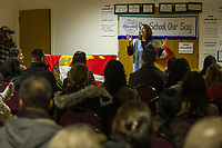 Rally organised by the NEU Trade Union against the academisation of three schools in Newham East London attended by staff and parents. The schools were Cumberland, Kier Hardie and Avenue the teachers were on strike against the plans. 15-3-18