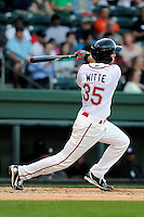 Infielder/third baseman Jantzen Witte (35) of the Greenville Drive bats in a game against the Kannapolis Intimidators on Friday, April 11, 2014, at Fluor Field at the West End in Greenville, South Carolina. Greenville won, 13-2. (Tom Priddy/Four Seam Images)