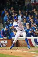 Chicago Cubs Dexter Fowler (24) bats in the eighth inning during Game 4 of the Major League Baseball World Series against the Cleveland Indians on October 29, 2016 at Wrigley Field in Chicago, Illinois.  (Mike Janes/Four Seam Images)