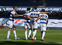 Queens Park Rangers playes celebrating  the first goal during Queens Park Rangers vs Millwall, Sky Bet EFL Championship Football at Loftus Road Stadium on 18th July 2020