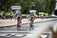 Jasper Stuyven (BEL/Trek-Segafredo) & Sonny Colbrelli (ITA/Bahrain - Victorious) rolling in<br /> <br /> Stage 1 from Brest to Landerneau (198km)<br /> 108th Tour de France 2021 (2.UWT)<br /> <br /> ©kramon