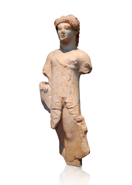 Marble Ancient Archaic Greek statuette of a Kore, from Aleusis, C. 490-480 BC, Athens National Archaeological Museum. Cat No 24.  Against white.