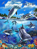 Interlitho, Lorenzo, REALISTIC ANIMALS, paintings, jumping dolphins(KL3856,#A#) realistische Tiere, realista, illustrations, pinturas ,puzzles
