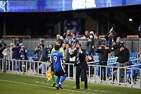 SAN JOSE, CA - MAY 1: Eduardo Lopez #9 of the San Jose Earthquakes celebrates with San Jose Earthquakes head coach Matias Almeyda before a game between D.C. United and San Jose Earthquakes at PayPal Park on May 1, 2021 in San Jose, California.