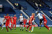 31st October 2020; Deepdale Stadium, Preston, Lancashire, England; English Football League Championship Football, Preston North End versus Birmingham City; Alan Browne of Preston North End heads the ball over the crossbar