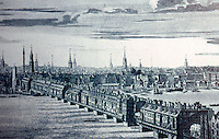 London: Historical, London Bridge in 1749--Steeples of Wren's City Churches in background.  Reference only.