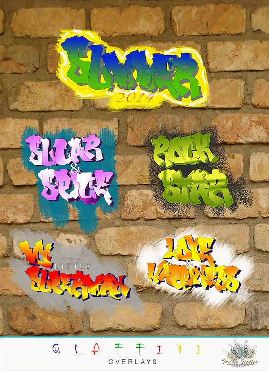 Hand drawn & computer designed graffiti overlays, personalize your fun and care free photos with Tummy Tickles Graffiti Overlays. These can be for personal use or for clients, you will receive:<br /> <br /> <br /> ● 1 psd file in an editable .psd format. - dpi 185<br /> ● easily change colors and fonts<br /> ● Use with Photoshop CS<br /> ● Instant Download<br /> <br /> <br /> ** Due to the digital nature of this product, there are no refunds, if you have questions please contact us. Our digital overlays are designed to be as straight forward as possible. Simply resize, position. It is recommended having a good comfort level working with layers in Photoshop or PSE prior to purchasing these templates.