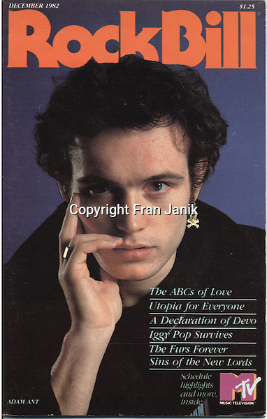 Portrait of the artist Adam Ant taken by rock photographer Fran Janik in 1982 for the Cover of Rock Bill Magazine.
