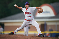 Auburn Doubledays relief pitcher David Smith (40) delivers a pitch during a game against the Batavia Muckdogs on July 4, 2017 at Dwyer Stadium in Batavia, New York.  Batavia defeated Auburn 3-2.  (Mike Janes/Four Seam Images)