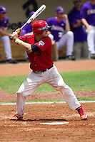 Stony Brook Seawolves catcher Pat Cantwell #3 at bat during the NCAA Super Regional baseball game against LSU on June 9, 2012 at Alex Box Stadium in Baton Rouge, Louisiana. Stony Brook defeated LSU 3-1. (Andrew Woolley/Four Seam Images)