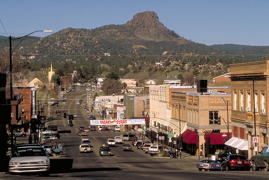 View of downtown business district (Sheldon St.) of Prescott, AZ and Thumb Butte. Prescott Arizona USA Lake Superior.
