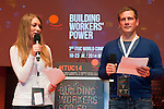 Berlin-Germany - May 18, 2014 -- International Trade Union Confederation - 3rd ITUC World Congress 'Building Workers' Power'; here, Debora Aleo (le), Youth-representative at Volkswagen, and Florian Haggenmiller (ri), DGB-Jugend / German Tade Union Youth, during the rehearsal of the opening ceremony -- Photo: © HorstWagner.eu / ITUC