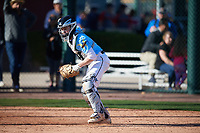 Zachary Farris (4) of Kaneland High School in Dekalb, Illinois during the Baseball Factory All-America Pre-Season Tournament, powered by Under Armour, on January 13, 2018 at Sloan Park Complex in Mesa, Arizona.  (Mike Janes/Four Seam Images)
