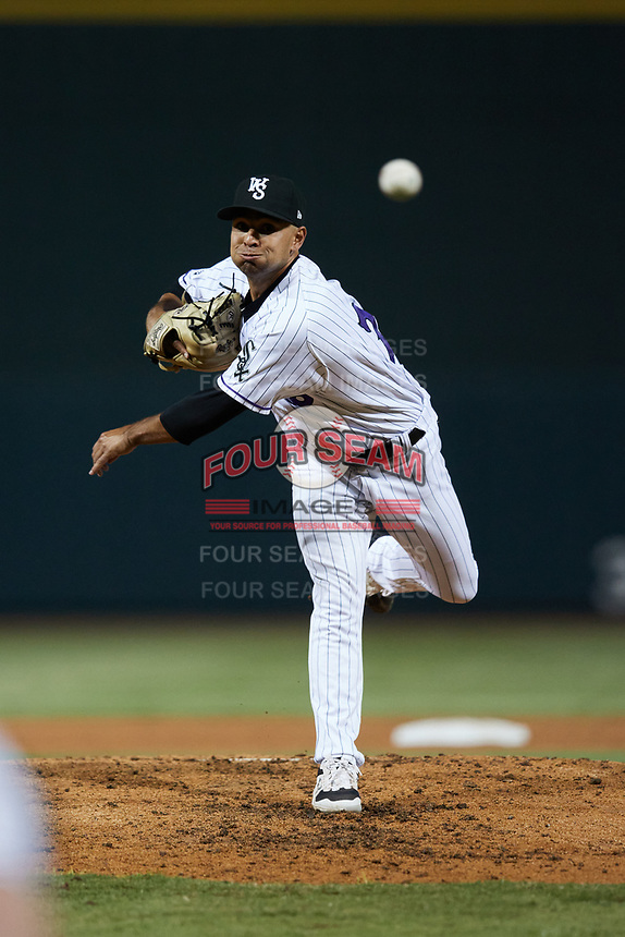 Winston-Salem Dash relief pitcher Ty Madrigal (20) delivers a pitch to the plate against the Bowling Green Hot Rods at Truist Stadium on September 7, 2021 in Winston-Salem, North Carolina. (Brian Westerholt/Four Seam Images)