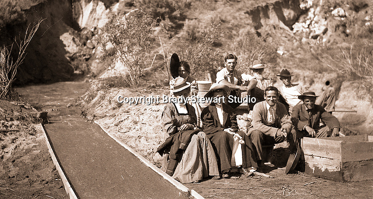 Twin Falls ID: Idaho Homesteaders and their visitors from Pittsburgh panning for gold.  Brady Stewart and three friends went to Idaho on a lark from 1909 thru early 1912. As part of the Mondell Homestead Act, they received a land grant of 160 acres north of the Snake River.  For 2 ½  years, Brady Stewart photographed the adventures of farming along with the spectacular landscapes.
